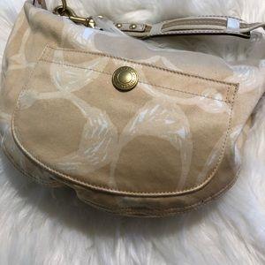 Coach tan soft canvas handbag